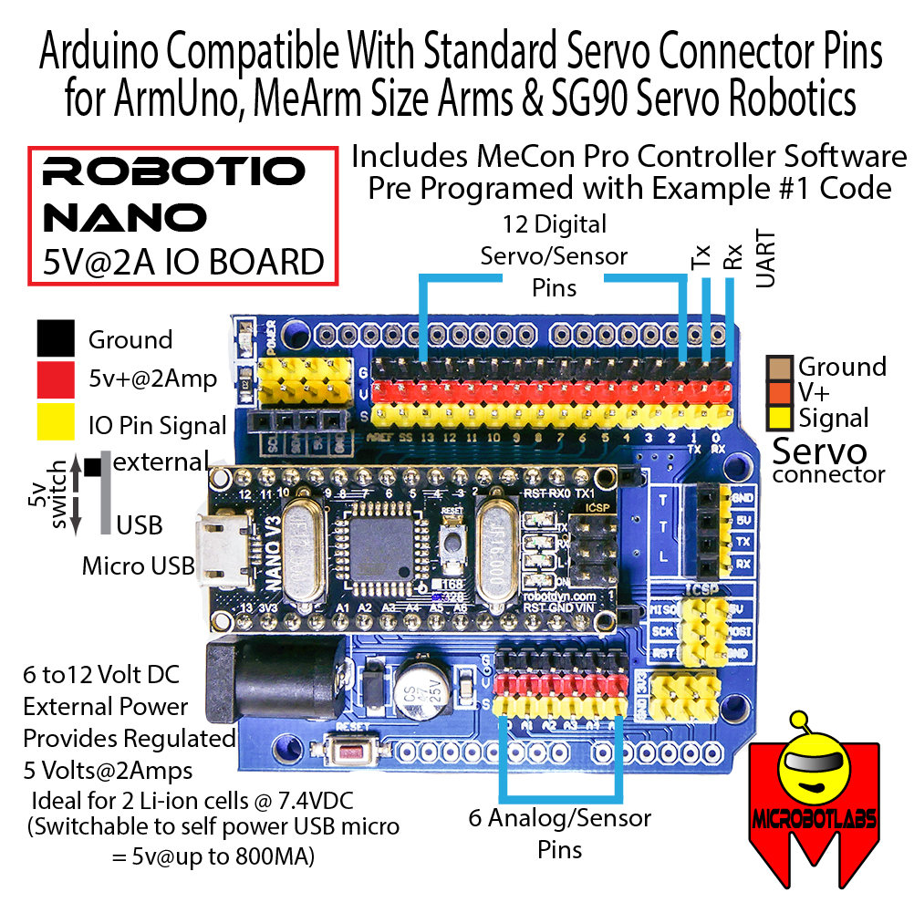 Robot Servo Controllers Usb Control Board Wiring Diagram Robotio Nano Blue Arduino Compatible Pin Out